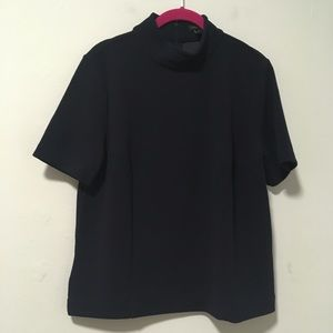 Ann Taylor Navy Blue Mock Neck Top M